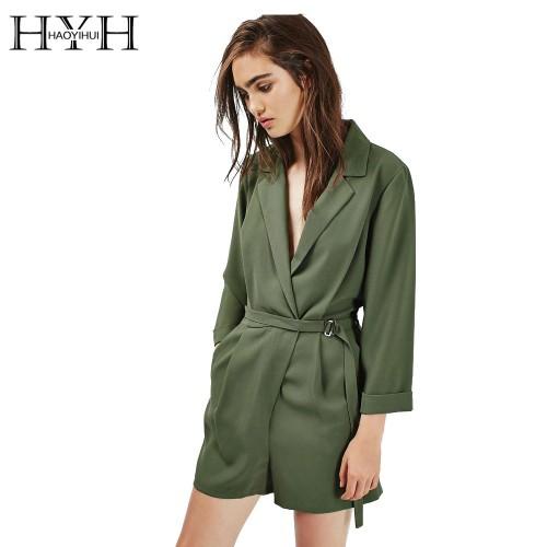 HYH HAOYIHUI Women Romper Solid Green Long Sleeve Deep V Neck Playsuit Drawstring Elegant Streetwear