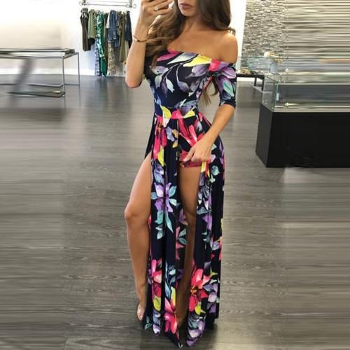 Jumpsuit Lace Up Design Maxi Overlay Romper Plus Size Women Jumpsuits