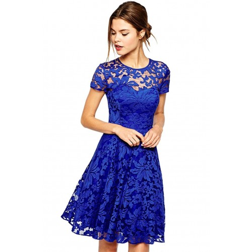 Blue Floral Lace Short Sleeve Summer Party Casual Mini Dress