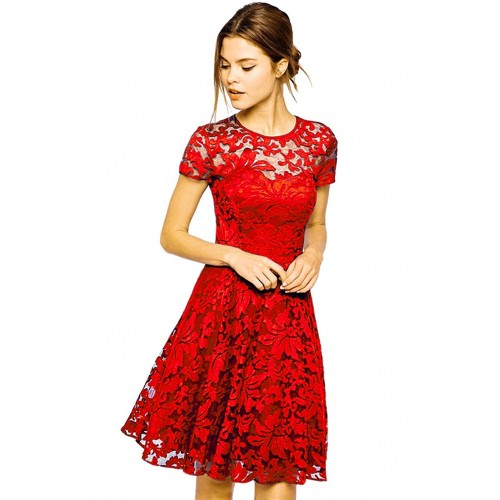 Red Floral Lace Short Sleeve Summer Party Casual Mini Dress