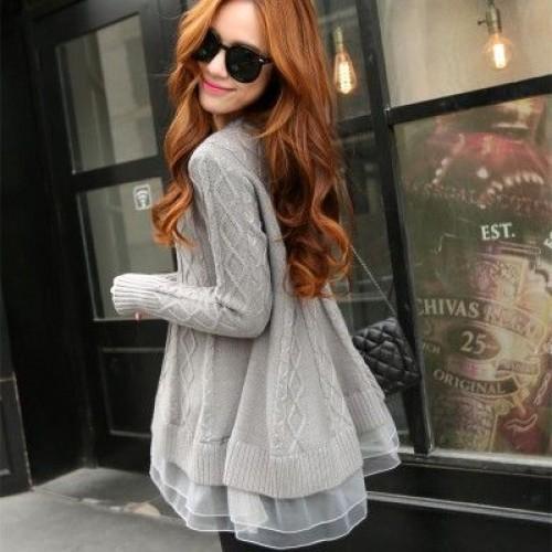Spring Korean Style Women s Long Thin O neck Base Loose Sweater Lace Jacket