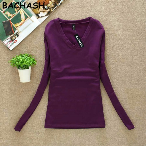 BACHASH New Fashion Export Brand Women Cashmere Sweater Solid Long Sleeve Slim Women Knitted Wool