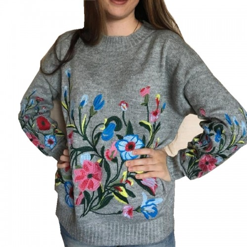 Hchenli Women Grey Flower Embroidered Sweater Knitwear Ladied Black Wine Red Pullover O neck Sweatersuit