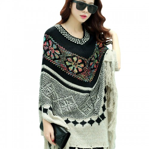 Hot Sale New Fashion Autun Winter Women Oversized Wool Pullovers Sweaters Bat Sleeve shawl poncho