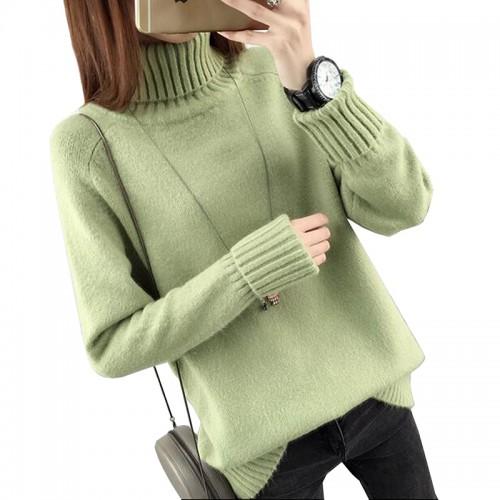Jesie Zima Sweter Z Golfem Kobiet Nowy Projekt Zielony Grube Tricot Kobiety Swetry I Swetry