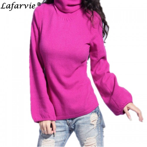 Lafarvie Quality Fashion Cashmere Blended Knitted Sweater Women Tops Winter Autumn Puff Sleeve Turtleneck Female Pullover
