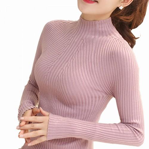 Moda Mulheres Blusas de Inverno Outono Alta El stica Magro Quente Apertado Assentamento Mulheres Camisola