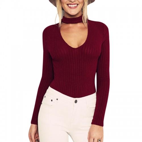 New Autumn Black Halter Knitted Sweater Women White Pullover Women Tops Slim V neck Long Pullover
