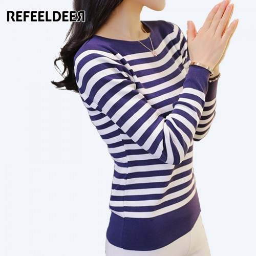 Refeeldeer Red Blue Black Striped Knitted Sweater Women Winter Women Sweaters And Pullovers Female Tricot