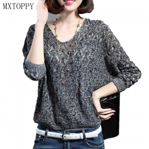 Autumn and Winter Women Basic Pullover Hollow Sweaters Loose Knit V neck Solid Pullover