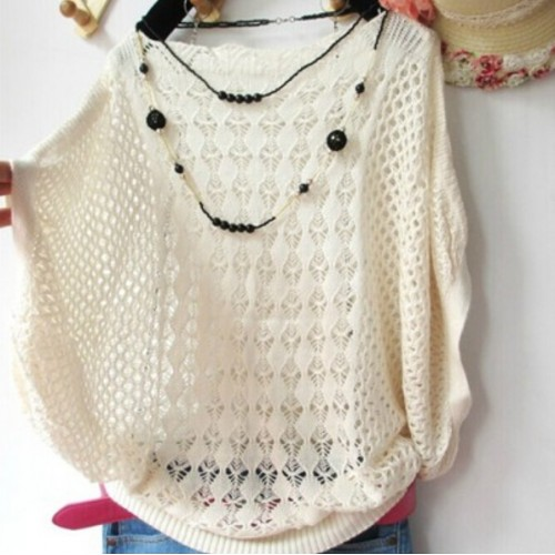 Spring summer New Hot Korean fashion Women Loose Batwing sleeve sweater jumper Lady Hollow knitted
