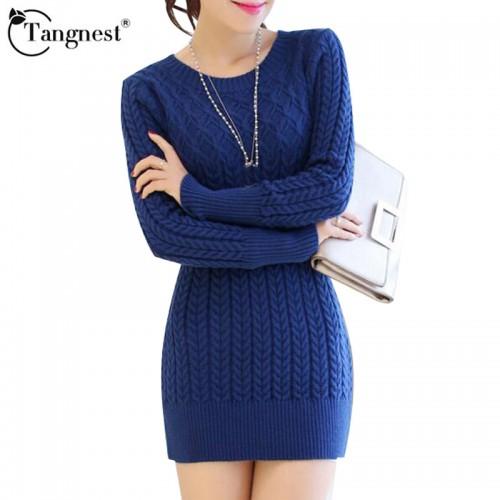 TANGNEST 4 Colors Women Autumn Winter Pullovers Sweater High Quality 2017 O neck Medium long Slim
