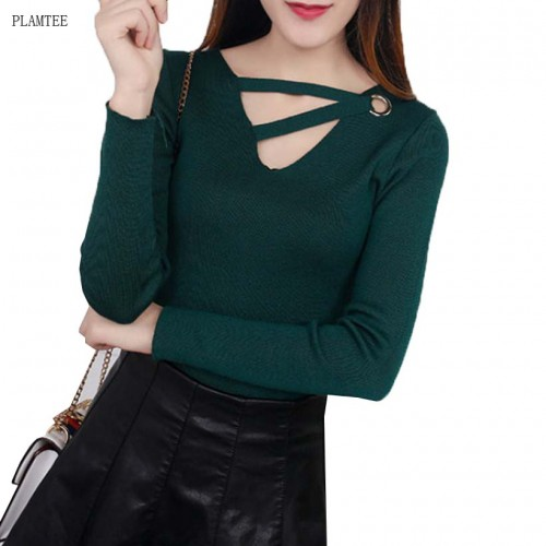 V neck Hollow Lady Sweater Slim Knitted Base Shirt Winter Long Sleeved Pullover