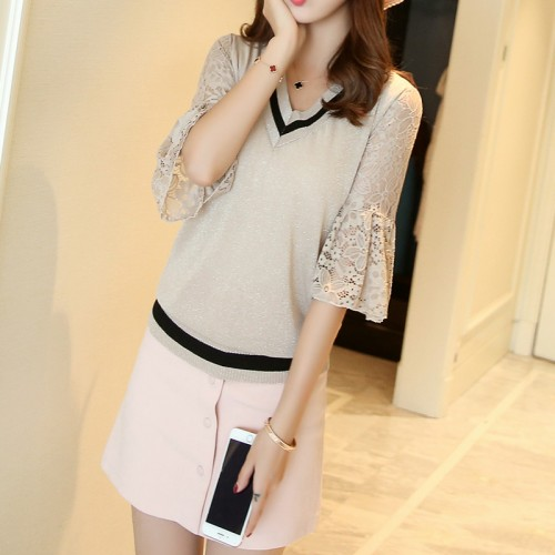 4764 new women s real silk lace V neck knit shirt sleeve 43