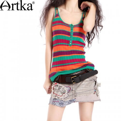 Artka Women S Summer Casual Fashionable Style Cotton Linen Colorful Striped Slim Knitted Sleeveless Vest B09618