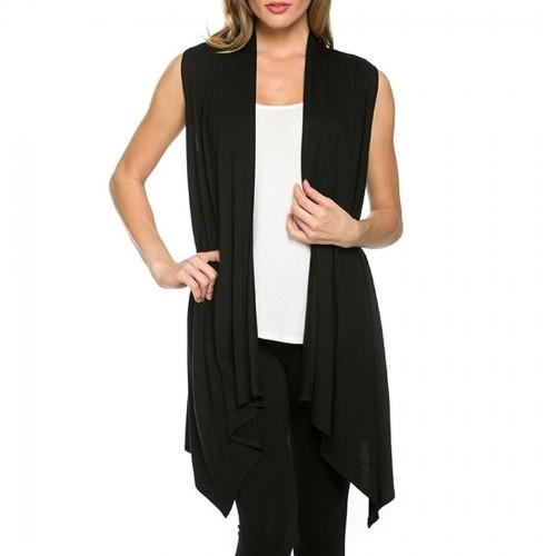 Autumn Cardigan Female Sweater Women Spring Open Stitch Top Sleeveless Cardigan Asymmetrical Hem Long Plus