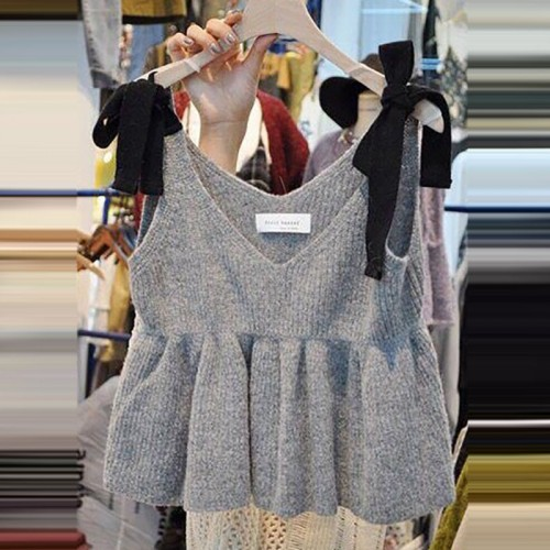 Autumn New Solid V neck Knitted Vest Women Casual Korean Style Camis Ladies Fashion Bowknot