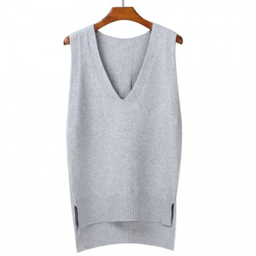 Autumn loose vest V neck knitted sleeveless sweater for women Side split grey sweaters vests