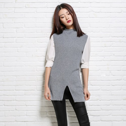 Casual Sleeveless O Neck Autumn Women Sweater Solid Color Elastic Wool Knitted Vest High quality Womens