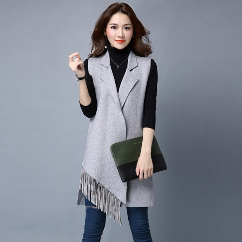 Hot Sale Casual Women Long Sleeveless Cardigan Autumn Open Stitch Knitted Vest Sweater Loose Vest