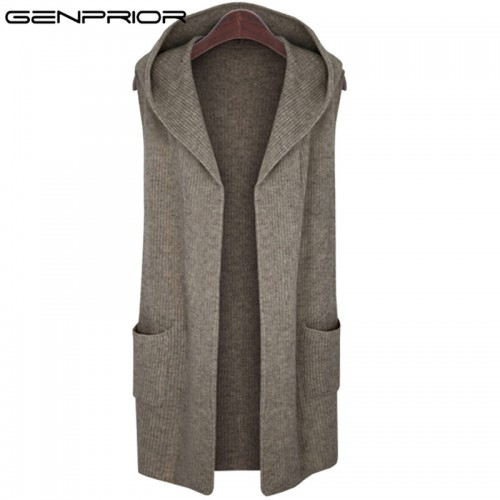 New Autumn Winter Large Size Women Wool Warm Knitted Vest Sweater with Hood Sleeveless Loose