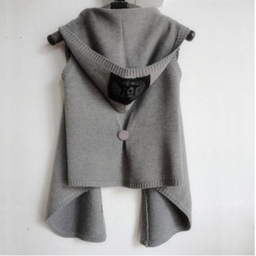 New Autumn Winter Women Vest with hood knitted woman vest sweater cardigan cape sleeveless outerwear