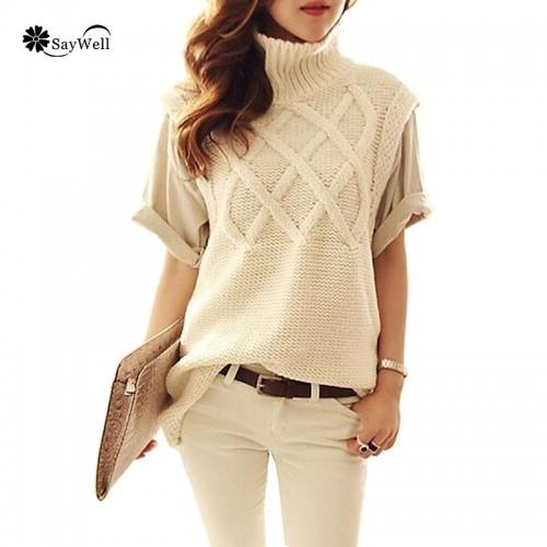 New Fall Winter Women s Turtleneck Thick Warm Long Knit Pullovers Woman Sleeveless Sweater Super