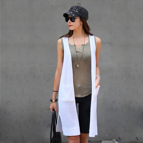 New summer european and american style casual knitted long vest women female thin vest women
