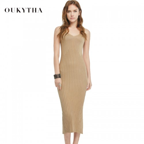 Oukytha Summer New Casual Sleeveless V neck Sweater Close fitting Maxi Long Dress Brown Colour