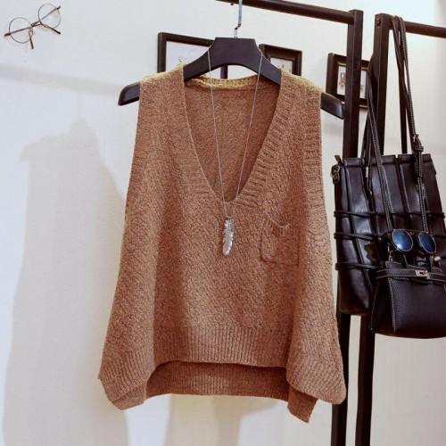Phalinovic Women Knitted Vest Female Autumn Winter Sweater V Neck Sleeveless Vest Korean Loose Pullover Pocket