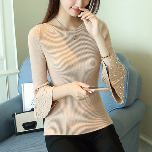 Real shot women s new pull half sleeve nail beads self cultivation knitting bottoming shirt 24