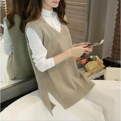 Spring Autumn Wool Sweater Vest Women Sleeveless O Neck Knitted Vests Long Sections Poullover Vest