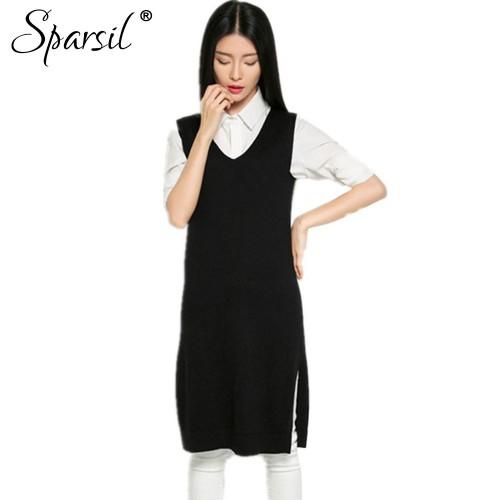 Women Autumn V Neck Cashmere Blend Vest Sweater Winter Sleeveless Knitted Sweaters Dress Female Split Hem