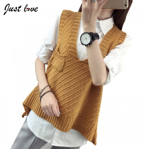 Women Knitted Vest Female Autumn winter Sweater V neck Sleeveless Vest Korean Loose Sweater pocket
