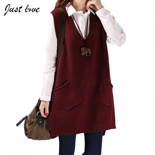 Women Sweater Female V neck Sleeveless knitted sweater Vest Fashion Long Overcoat Top Base Bottoming Shirt