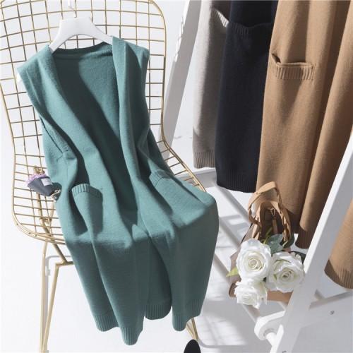 preppy style sweater vest medium long loose sleeveless outerwear female knitted waistcoat