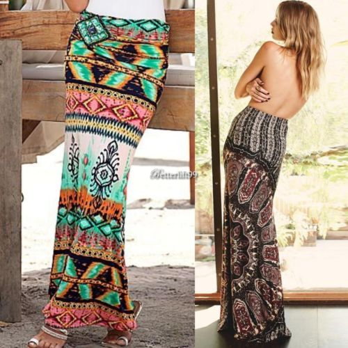Summer Women Boho Tribal Floral Casual Stretch Long Skirt
