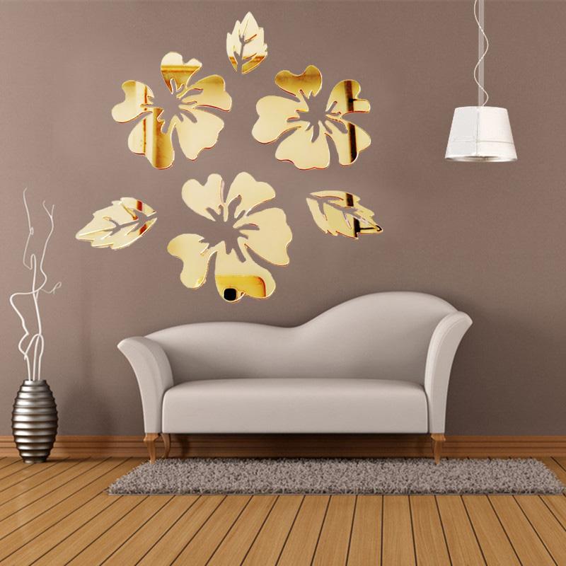 40x30cm Acrylic Flowers Leaf Wall Stickers Reflective Mirror