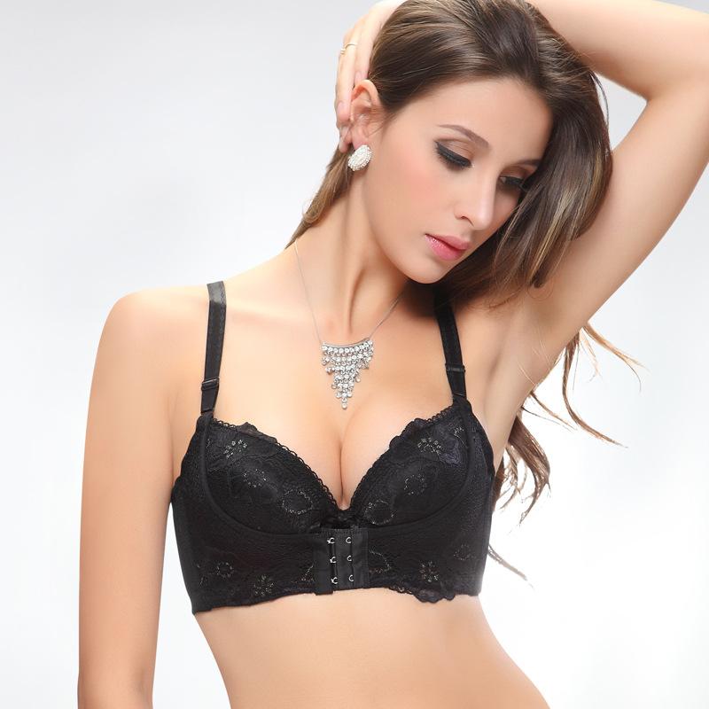 f0f1f2a82501b Sexy Lace Embroidery Bra Women Push Up Front Closure Bras Massage ...