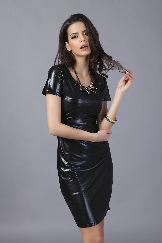 European Style Black Wild PU Leather Bodycon Empire Dress
