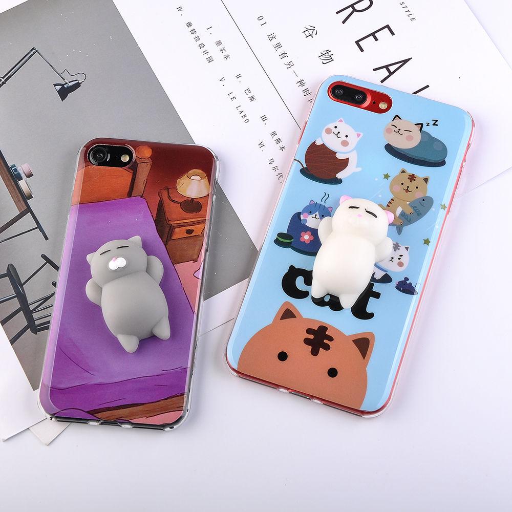Squishy Cat Stick On Phone : 3D Cute Soft TPU Silicone Squishy Cat Fundas Phone Case