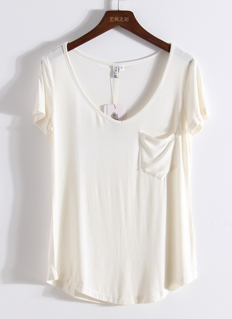 4-Colors-Fashion-All-Match-V-Neck-Short-Sleeve-T-Shirts-Summer-New-Arrivals-S-4x