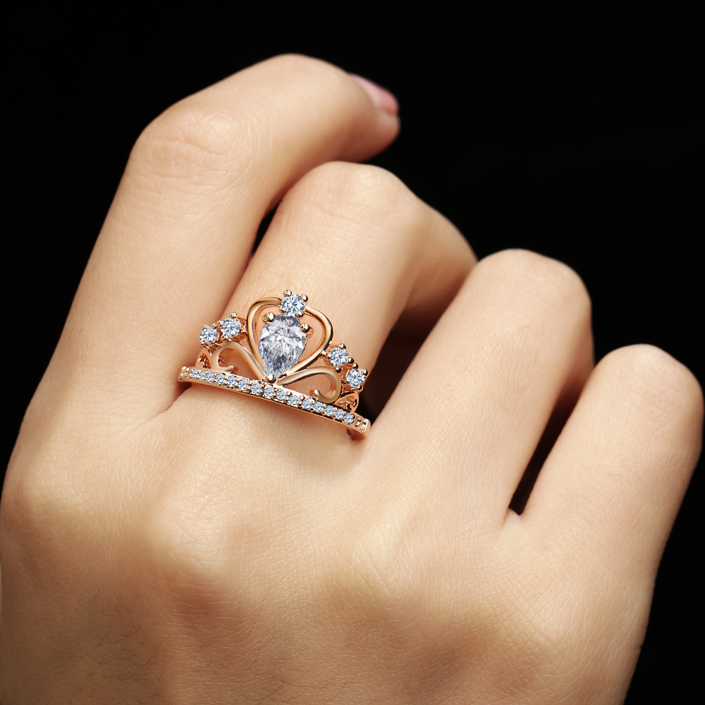 If You Princess Queen Tiara Crown Rings For Women Rose