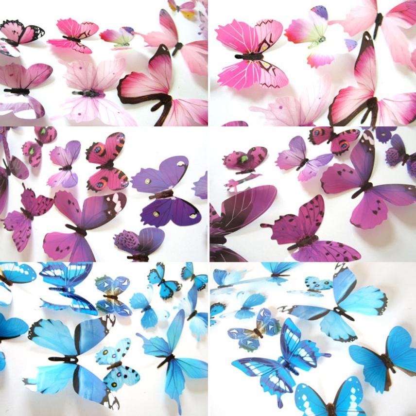 3d decal 12 pcs butterfly pvc wall stickers for home for Butterfly decorations for home