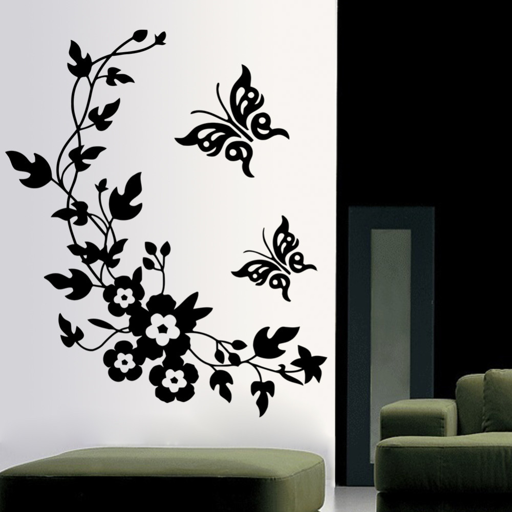 3d wall sticker mural decal art flowers and vine butterfly wall sticker. Black Bedroom Furniture Sets. Home Design Ideas