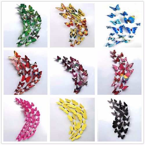 12Pcs 3D Double layer Magnet Butterfly Wall Sticker for Home Decor