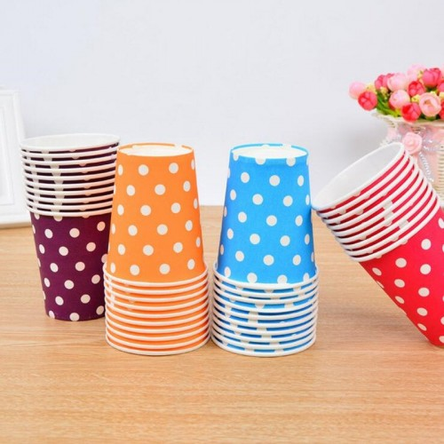 10 Pieces Disposable Polka Dot Paper Cups Party Tableware Decoration