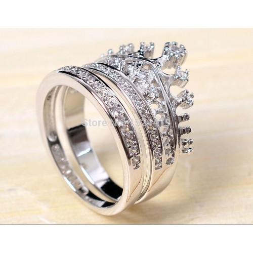 Queen Crown Zircon 10KT White Gold Filled Women Ring