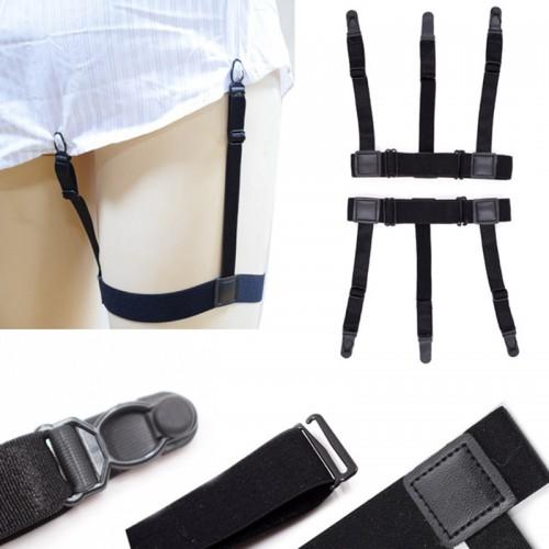 Men Shirt Stays Belt with Non-slip Locking Clips Keep Shirt Tucked Leg Thigh Suspender Garters Strap