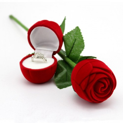High Grade Flocking Wedding Party Red Rose With Leaf Ring Jewelry Box Pendant Earrings Display Box